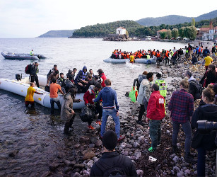 refugees on the shore